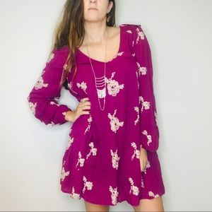 Free people boho embroidered dress with pockets
